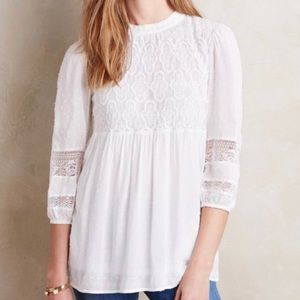 Anthropologie Meda Lace Top Tunic White Sz Large